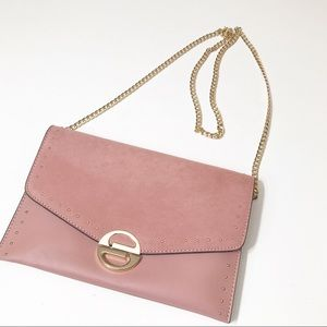 NWOT TopShop Pink Crossbody Gold Chain